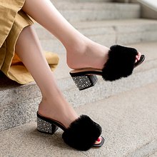 MNIXUAN women slippers summer sheos 2018 fashion leather open toe rabbit fur square heels with rhinestones solid slides big size
