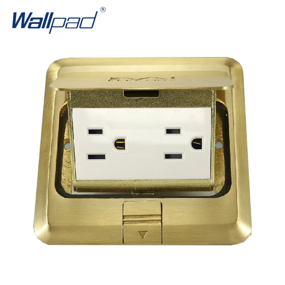 US 6 Pin Floor Socket Wallpad Luxury Copper and SS304 Panel Damping Slow Open For Ground With Mouting Box AC110-250V 15a 16a south africa socket and double ubs socket wallpad 146 86mm white glass 2 usb ports and 16a sa switched socket with led