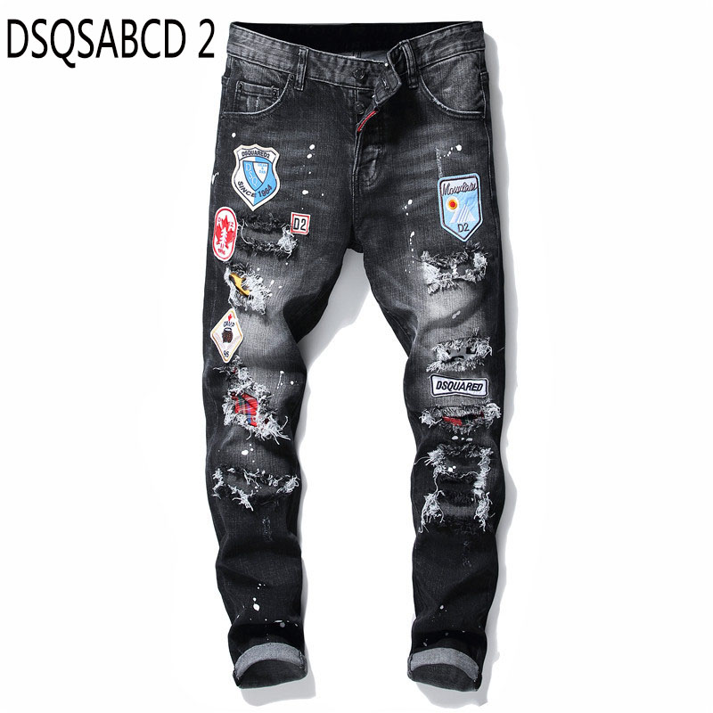 European American Style Famous Brand Men's Slim Jeans Patchwork Straight Zipper Jeans Pants Black Punk Style Brand Jeans For Men