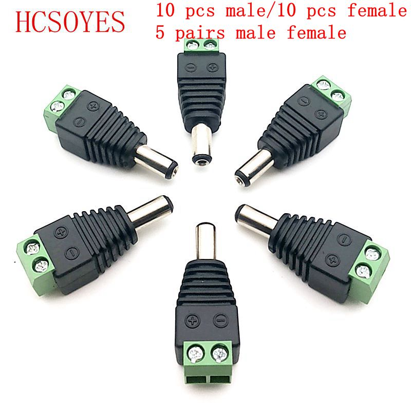 5x DC Power Supply Plug Adapter Connector for 5050 3528 LED Strip Light 12V Male