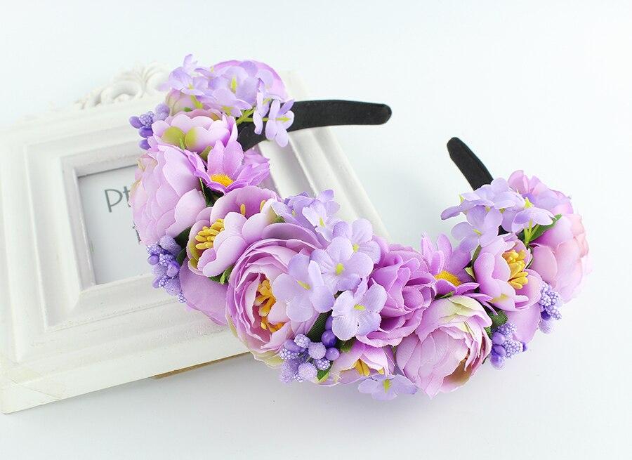 Headband Rose Garland wreath wedding party Bridal Hs