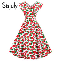 Sisjuly Vintage Dress Vestido Strawberries Print Dress Retro Dresses Red Knee Length A Line Party Lady