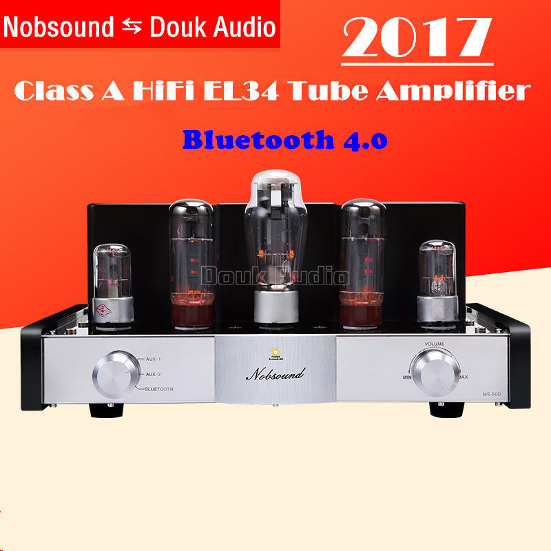 2017 New Nobsound MS-50D EL34 Vacuum Tube Amplifier Stereo Class A Power Amp With Bluetooth output power 25w 25w nobsound ms 10d tube amplifier class a tube amp amplifier hifi power amplifier common classic version