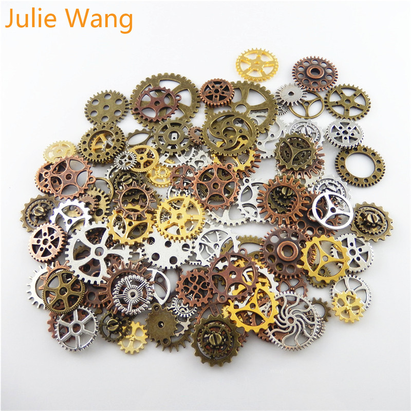Julie Wang Mixed Colors And Sizes Steampunk Gears Pendant Alloy DIY Fashion charm Bracelet Necklace Jewelry Metal Accessories цена