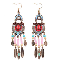 Bohemian Vintage Feather Tassel Earings European Royal Palace Personalized Hook Dangle Earrings Brinco Bijoux