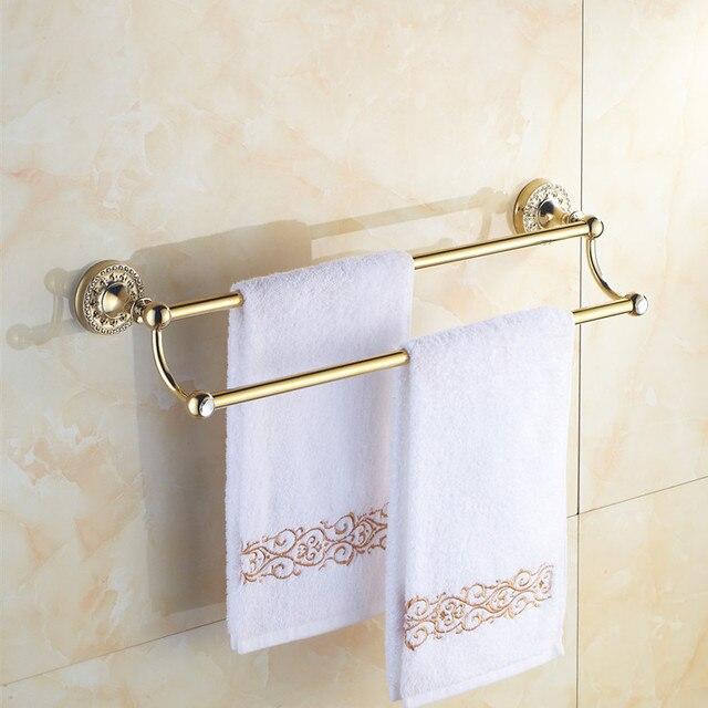 Accesorios de ba o de lat n dorado 60 cm toalleros doble ba o toallero de pared antiguos - Toalleros de pared ...