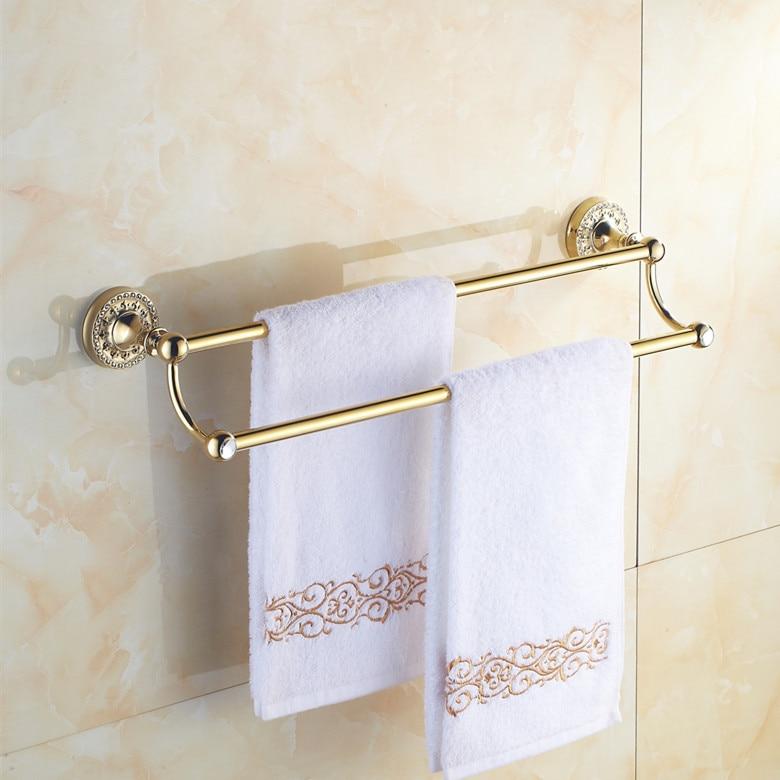 European double towel bar solid brass bathroom racks golden towel rack bathroom hardware - Bathroom accessories towel bars ...