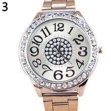 Women Luxury Big Numbers Round Dial Rhinestone Inlaid Alloy Quartz Wrist Watch  все цены