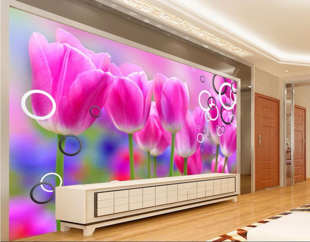 3d wall murals wallpaper for living room walls 3 d photo wallpaper Circle tulip flower home decor Custom mural picture painting custom mural 3d wallpaper chinese bird collection flowers bloom painting 3d wall murals wallpaper for living room walls 3 d
