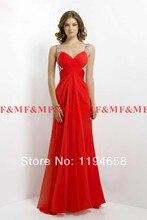 Sexy Perlen Straps V-ausschnitt A-linie Weiß Rot Chiffon Promkleider 2016 Bodenlangen Open Back Abendkleider F & M1110