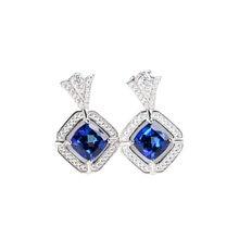 Женские серьги гвоздики с натуральным голубым топазом ювелирные