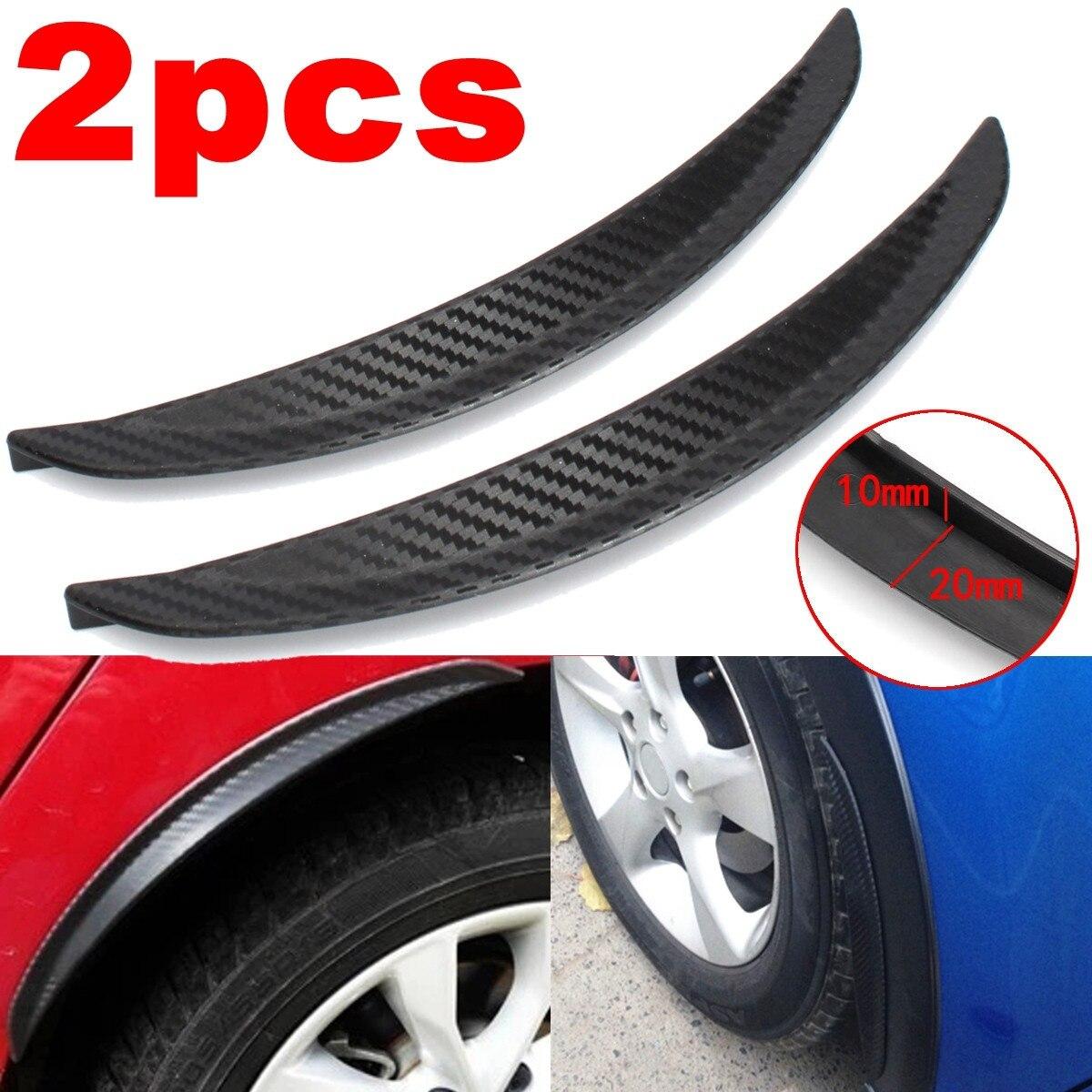 2 pçs 24.5cm universal carro de fibra carbono fender flares mud flaps respingo guardas arco roda sobrancelha lábio para carro caminhão suv