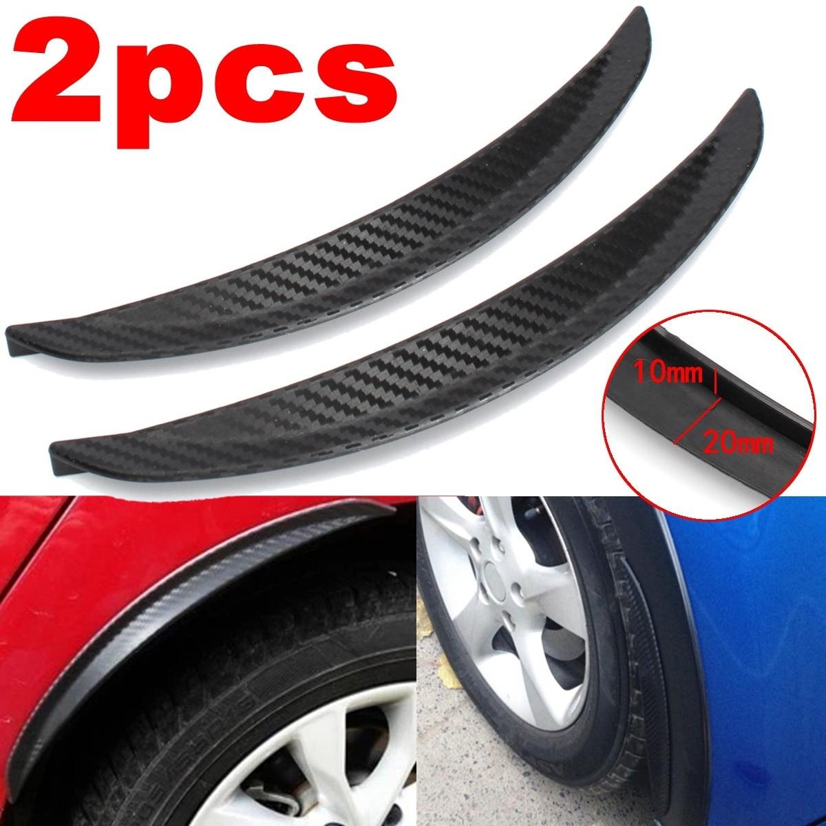 2 pièces 24.5cm universel voiture en Fiber de carbone garde-boue garde-boue anti-éclaboussures arc roue sourcil lèvre pour voiture camion SUV