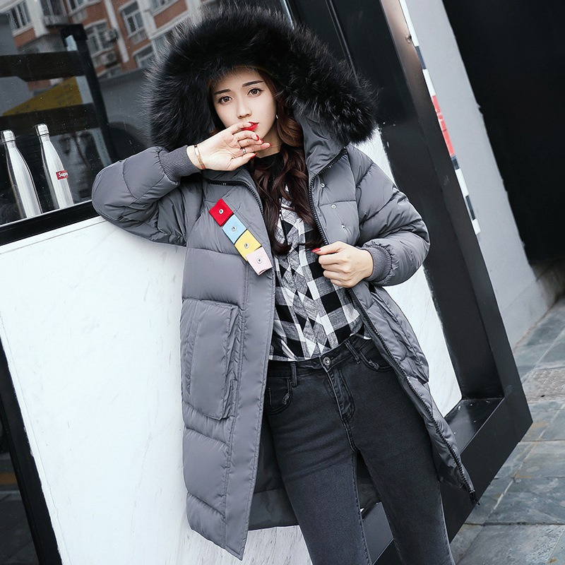 Women's Clothing Jackets & Coats Fashion New Brand Winter Warm Coat For Women Female Fur Collar Zipper Long Parkas Contrast Color Women Jackets Careful Calculation And Strict Budgeting