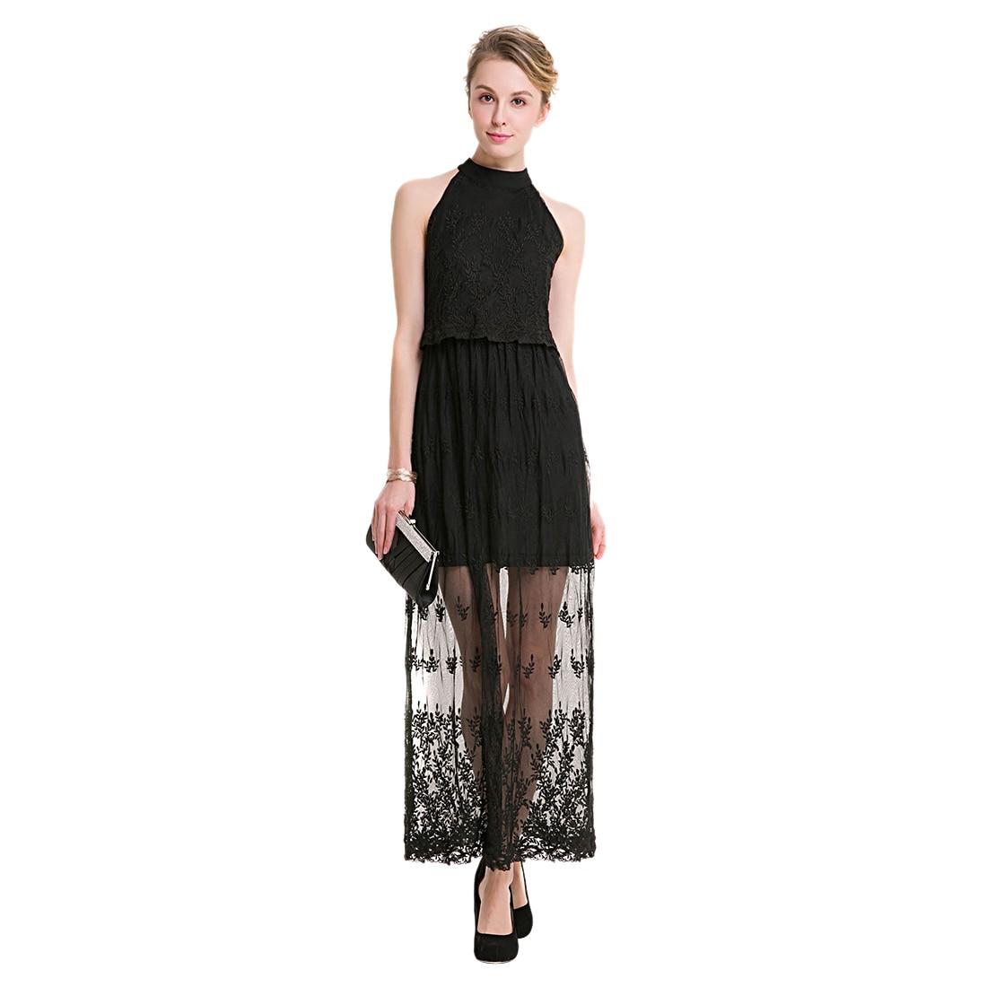 TFGS Original Design Women Fashion Elegant Lace Office Lady Dress Summer Sleeveless Halter Neck Vintage Long