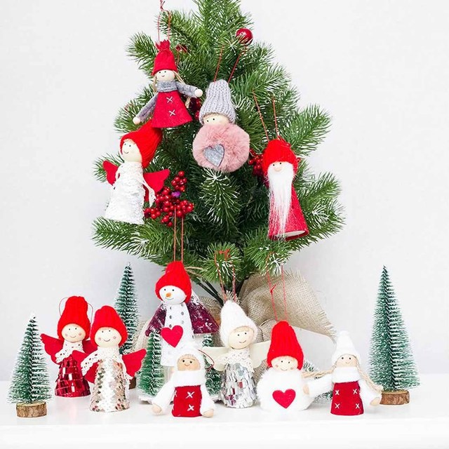 Multi Type Santa Claus Snowman Pink Fuzzy Cloth Toy Doll Merry Christmas  Ornaments Gift Tree Hanging - Multi Type Santa Claus Snowman Pink Fuzzy Cloth Toy Doll Merry