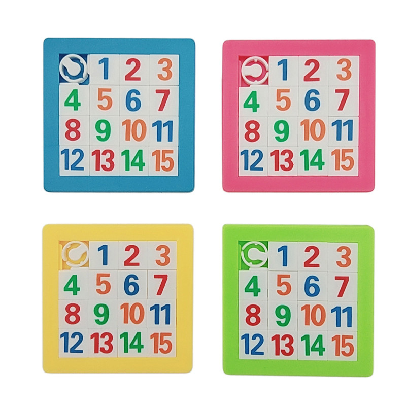 1pcs 3D Slide Puzzle Plastic Building Numbers Alphabets Learning Jigsaw Game Toys Children's Educational Toy Puzzles Gift 7*7cm