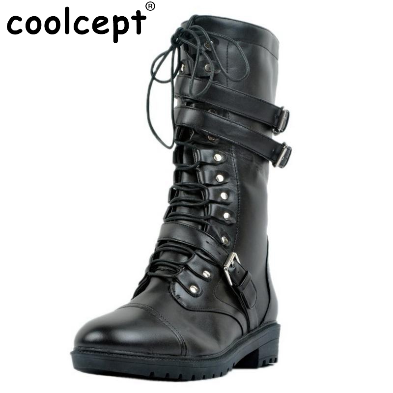 ФОТО Women Fashion Round Toe Martin Boots Woman Brand New Lace Up Flat Ankle Boot Ladies Buckle Wrap Footwear Shoes Size 34-47