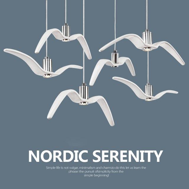 Moderne diy fly vogel hanglamp licht 3 w led wit schorsing ...