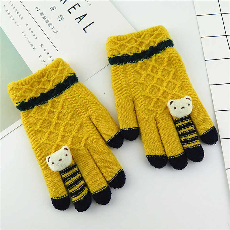 Thick Imitation Cashmere Children Gloves Cute Cartoon Decoration Children's Knitted Warm Gloves 5-12 Years Old Winter Gloves