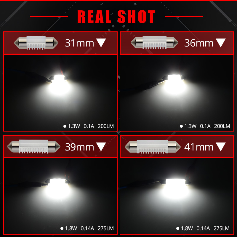 BOSLLA C5W led bulb C10W Festoon 31mm 36mm 39mm 41mm Car Interior Lights SMD 3030 COB Bulb Reading Lights 12V 6000K White 2X