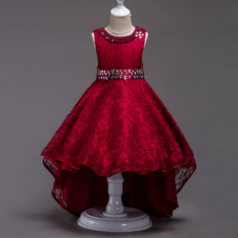 Elegant Kids Dress for Girls 4 6 8 10 12 to 14 Years Pearl Inlay Red