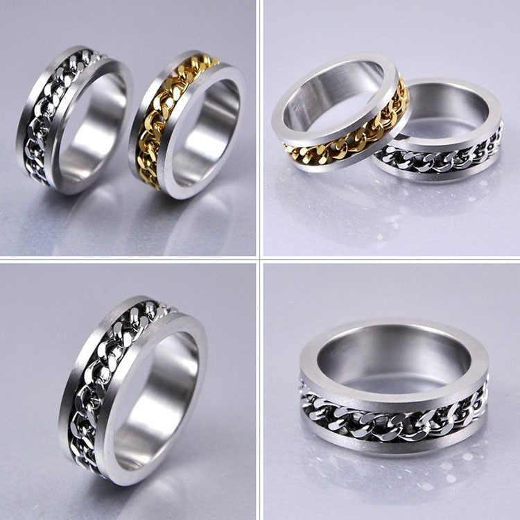 Gorąca sprzedaż złoto srebro 2 kolory pierścień dla mężczyzn z ozdobny łańcuszek wkładka tytanu stali mężczyzna palec pierścień biżuteria