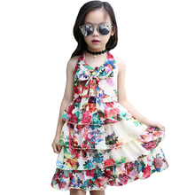 2017 Été Filles Enfants Bohême Floral Mousseline de Soie En Couches Infantile Bow Tie Party Robe Bébé Enfants Vêtements Princesse Robes de Plage
