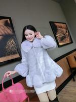 2017 new autumn and winter Japan and South Korea imitation fur coat long sleeved fur collar fox fur fashion lady coat