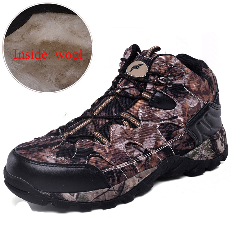Mens womens trekking shoes anti slip climbing shoes and wool lining female mountain shoes comfortable warm outdoor sneakers
