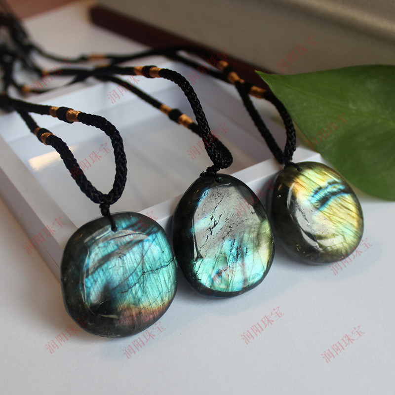 Natural Labradorite Stone Pendant Yoga Macrame Necklace For Men Women Energy Rough Stone Moonstone Raw Gemstone Jewelry Pendant