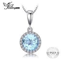 JewelryPalace 2 7ct Natural Sky Blue White Topaz Halo Solitaire Pendant 925 Sterling Silver Jewelry For