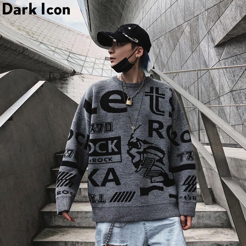 Sweater Men Round-Neck Autumn Winter Letter Hip-Hop Loose