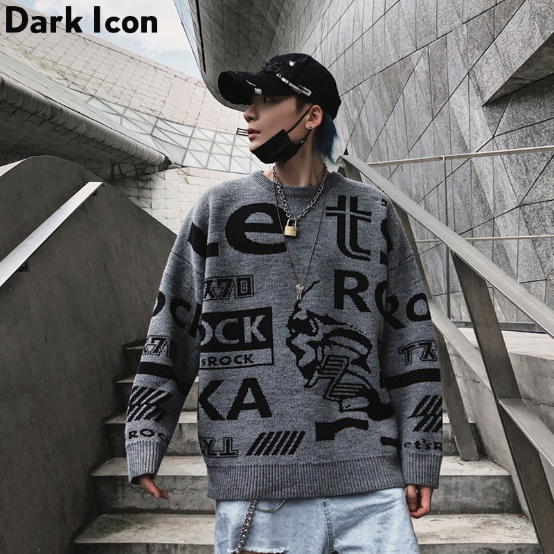 Dark Icon Letter Round Neck Hip Hop Sweater Men 2019 Autumn Winter Pullover Men's Sweaters Loose Sweater Men