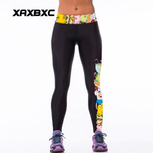 006 High Waist Workout Silm Fitness Women Leggings Elastic Pants Trousers Sexy Girl Fashion Adventure Time Finn and Jake Prints