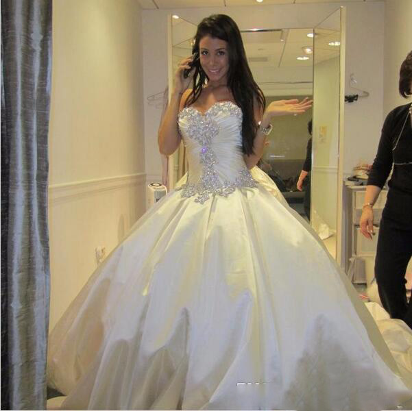 Ivory Bling Pnina Tornai Wedding Dresses Sweetheart Ball Gowns Sparkly Crystal Backless Chapel Long Train Bridal Gowns Cheap Wed