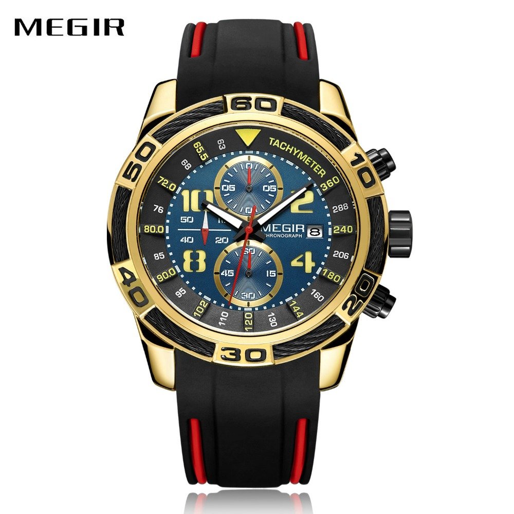 MEGIR Sport Watches Men Fashion Silicone Strap Top Brand Luxury Golden Quartz Wristwatches Chronograph Army Military Watch Clock megir fashion men watch top brand luxury sport quartz wristwatches leather strap army military watches men clock erkek kol saati