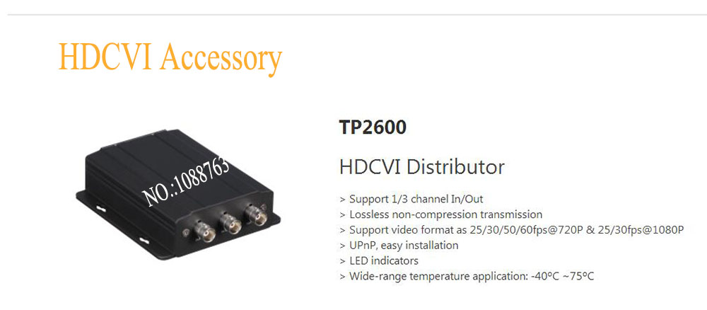 Free Shipping DAHUA HDCVI Distributor Support 1/3 channel In/Out Support video format as 720p&1080p Without Logo TP2600