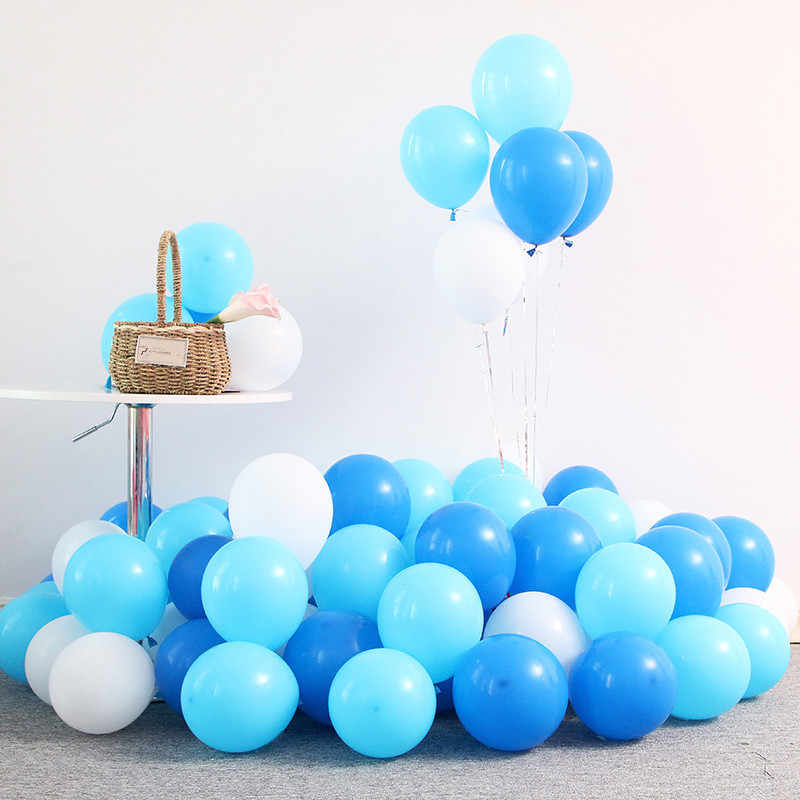 10pcs 12inch White Macaron Ballons Air Balls Happy Birthday Party Decorations Kid Wedding Ballon Baby Shower Blue Balloon Globos