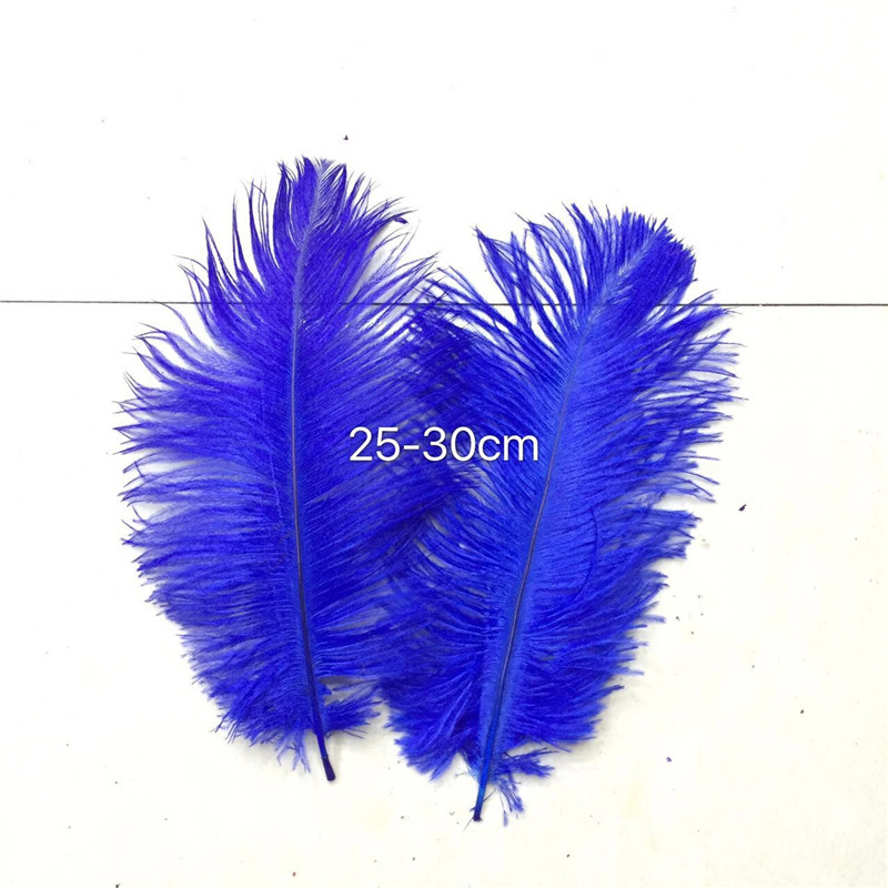 100 beautiful 10 to 12 inches (25 to 30 cm) ostrich hair dyed blue treasure, used for decoration accessories hat head buckle