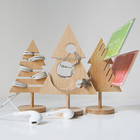 Creative Wood Storage Holder For Cards Jewelry Christmas Tree Earphone Storage Rack Eco Table Organizer Holiday