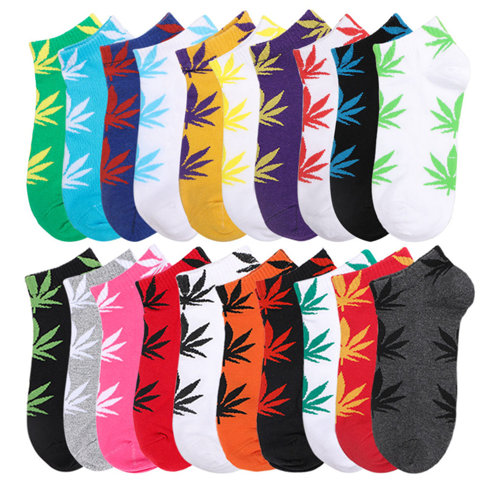 Casual Men Women Cotton Anklet Socks Marijuana Leaf Short Weed Sock High Quality Vintage Harajuku Ladies Couple Woman Socks