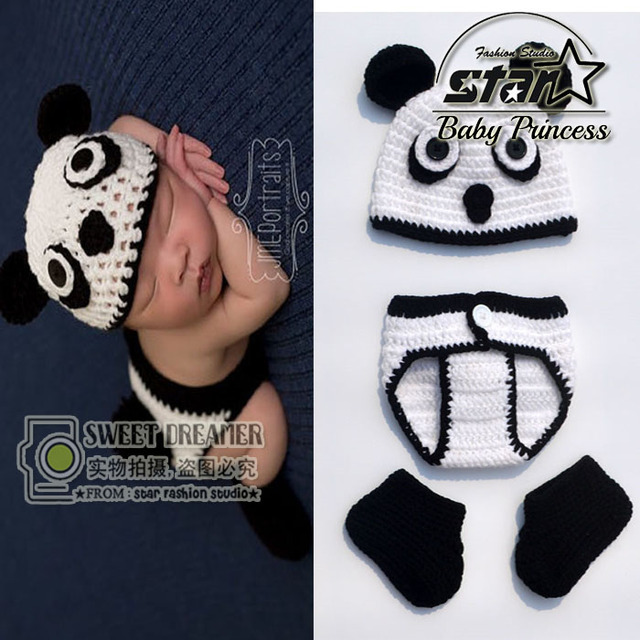 f51abd7baa3 3 Pieces Set Newborn Cute Animal Costume Handmade Knit Crochet Baby Boy  Girl Panda Bear Hat and Diaper Cover Set