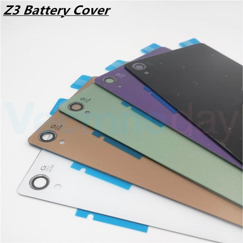 Vecmnoday Verre Retour Batterie Couverture de Cas Pour Sony Xperia Z3 L55T D6603 D6643 D6653 Remplacement Arrière Porte Logement Avec Adhésif