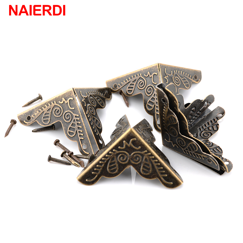 NAIERDI 30PCS Luggage Case Box Corners Brackets For Furniture Decorative Triangle Rattan Carved Decorative Corner Protector