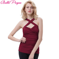 Belle Poque 2017 Tank Top Women Summer Sexy Slim Cross Front Basic T Shirts Cotton Solid