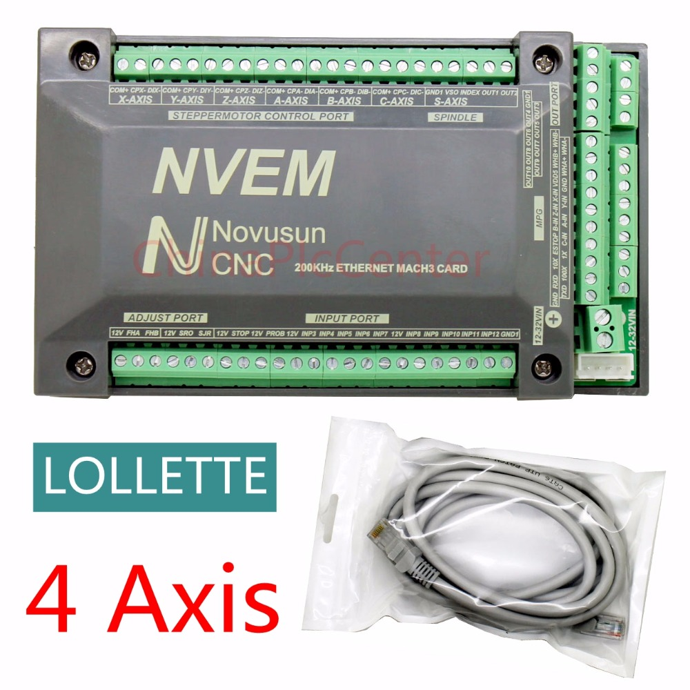 4 Axis NVUM NVEM CNC Controller 200KHZ Ethernet MACH3 Motion Control Card for Stepper Motor цена 2017