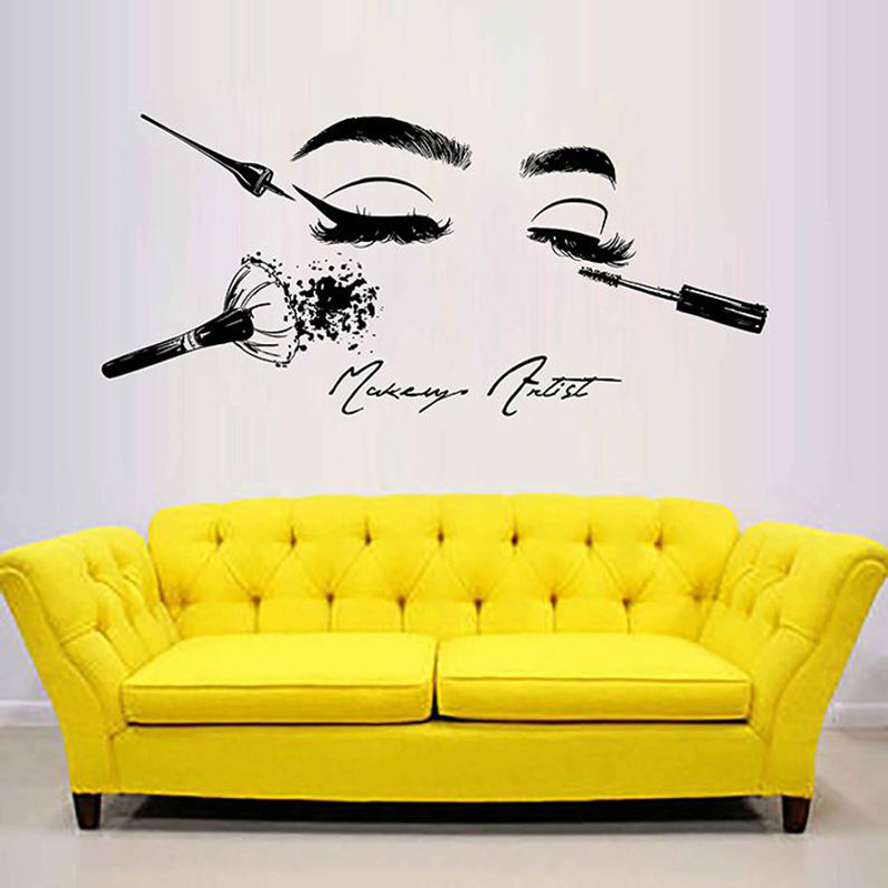 Cosmetics-Tools Wall-Stickers Beauty Salon Face-Wall Decal for Model-Girl Eyes Lips G1