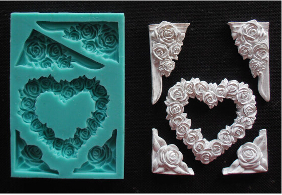 HEART and FRAME with ROSES Silicone Mold Fimo mold Chocolate Mold Fondant Cake Decoration Mold Sugar Craft Tools Soaps