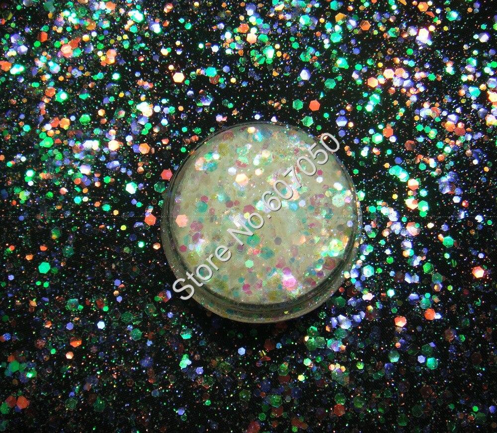 ⊱50g mezcla tamaño blanco con púrpura oro verde brillante luz ...